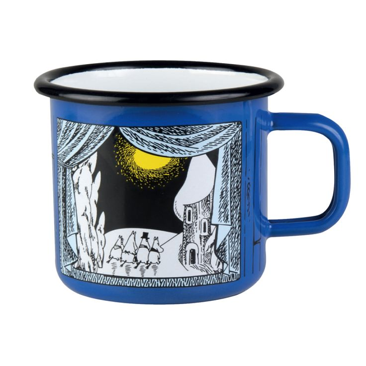 """Moomin winter enamel mug 2015 """"Winter in Moominvalley"""" holds 3,7 dl and it isperfect for cheering your winter daysup!Limited edition..."""