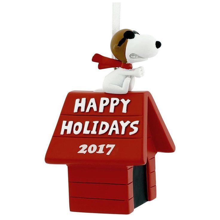 Hallmark Peanuts Snoopy Flying Ace on Doghouse Happy Holidays 2017 Christmas #PeanutsbySchultz
