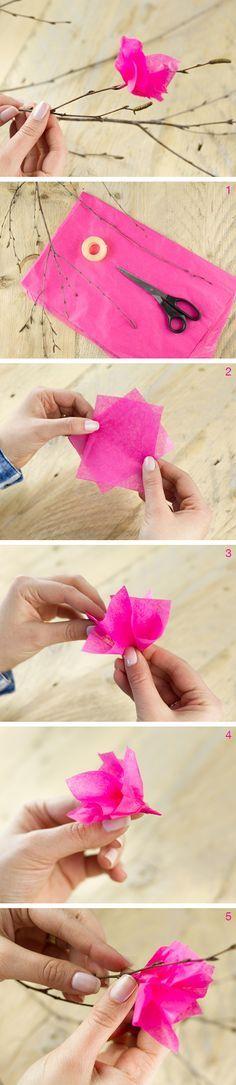 DIY Anleitung: Strauß mit Kirschblüten basteln // diy tutorial: bouquet with paper cherry blossoms via DaWanda.com