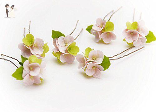 003 HANDMADE Pink hydrangea flowers Hair Pins (SET 4), Wedding Floral, Pink Hair pins, hair accessories, Bridal headpieces, summer flowers, prom - Bridal fashion accessories (*Amazon Partner-Link)