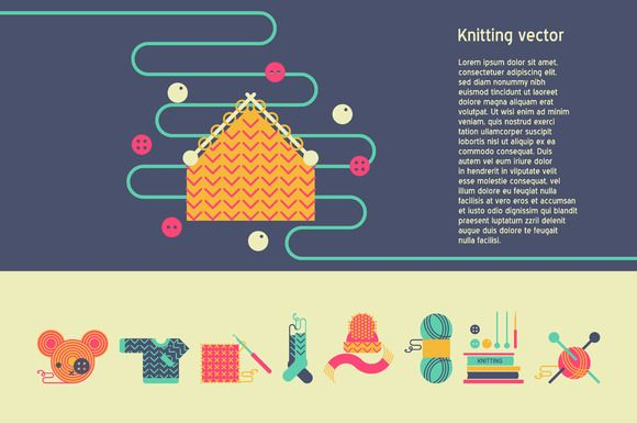Knitting vector set by Creativemaker on Creative Market