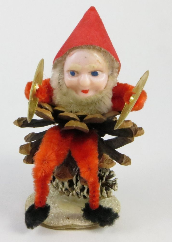 Vintage PIXIE ELF Christmas Decoration Ornament JAPAN Chenille PLAYING CYMBALS