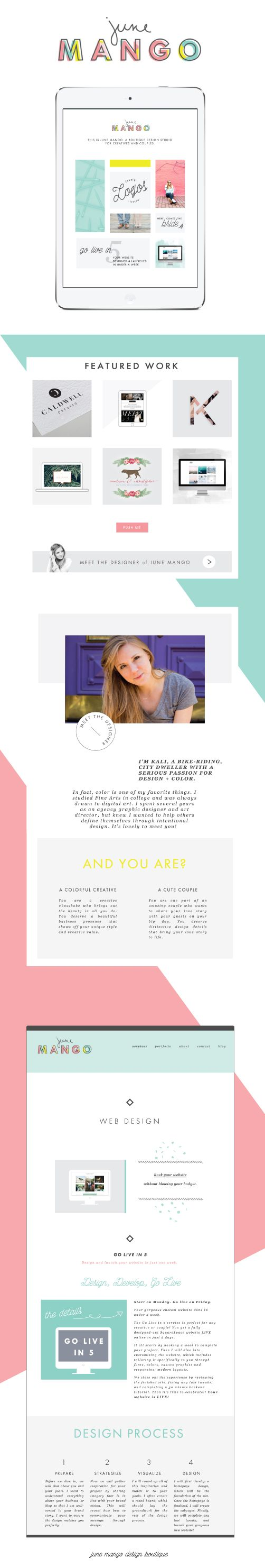 colorful + clean + feminine web design // SquareSpace website design