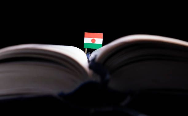 niger flag in the middle of the book knowledge and education concept