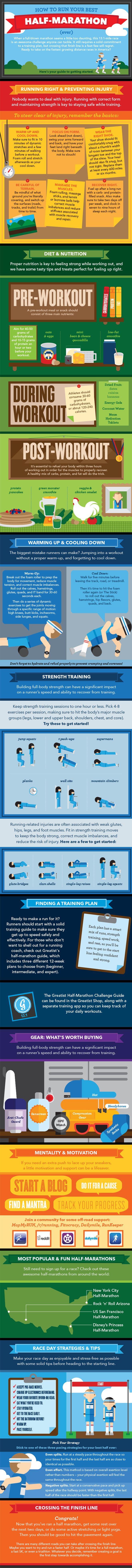 Infographics zijn cool! Nog doper: een infographic die je tips geeft over hoe jij je beste halve-marathon ooit loopt. Denk voeding, training, blessurepreventie, motivatie en gear. The whole shebang en dan ook nog op een super coole manier geïllustreerd! #hardlopen #running