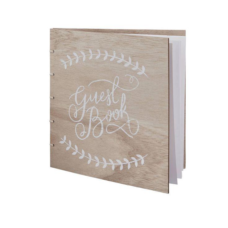 Boho Wooden Wedding Guest Book