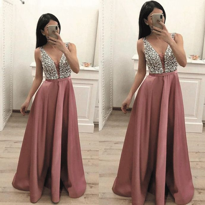 V neck dusty pink prom dresses 2020 satin elegant sleeveless beaded a line prom gown robe de soiree 2019