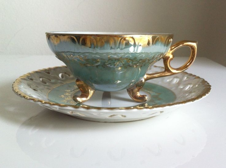 RARE Vintage Tea Cup Royal Sealy China Japan Footed Turquoise w/ Gold Trim
