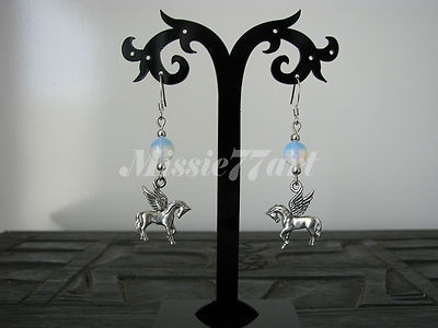 Mythical Pegasus Flying Horse Earrings w/t Moonstone & Surgical Steel Ear Wires $28.95