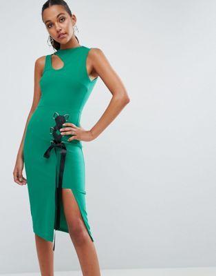 Облегающее платье миди со шнуровкой и высоким разрезом ASOS