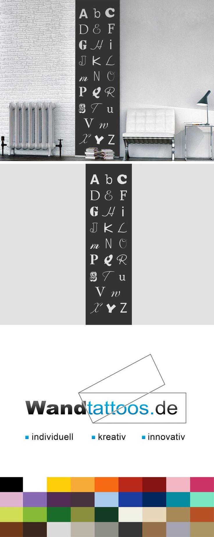 Wandbanner ABC als Idee zur individuellen Wandgestaltung. Einfach Lieblingsfarbe und Größe auswählen. Weitere kreative Anregungen von Wandtattoos.de hier entdecken!