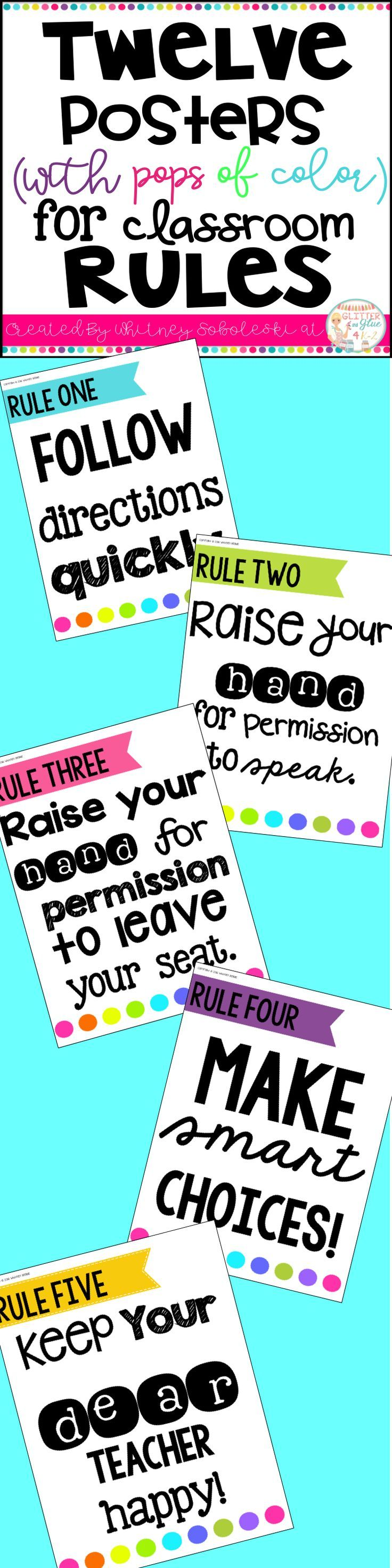 Poster design keywords - Twelve Posters With Pops Of Color For Classroom Rules