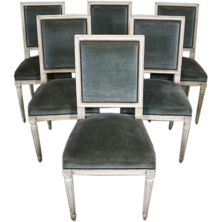 Set of Six Louis XVI Style Painted Dining Chairs | From a unique collection of antique and modern side chairs at http://www.1stdibs.com/furniture/seating/side-chairs/