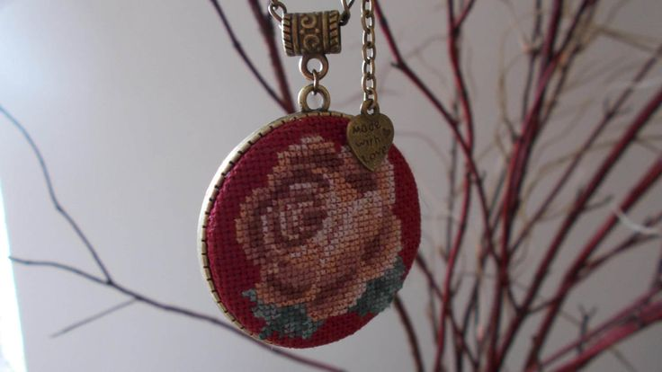 Very original pendant with rose flower by DoriArt on Etsy