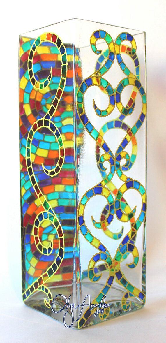 Mosaic colors rainbow Vase Stained Glass от RomanticArtGlass