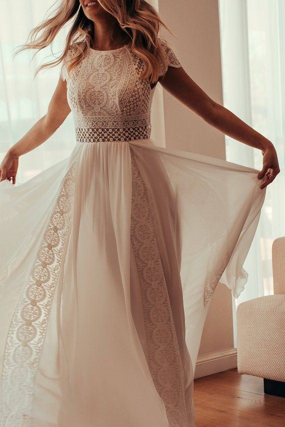 Short Sleeve Womens Dress, Vintage, Ivory, Inspirational BOHO, Boat Neckline, Crochet, Chiffon, Geometric Lace, Beach Wedding, KALA KALA – Mode
