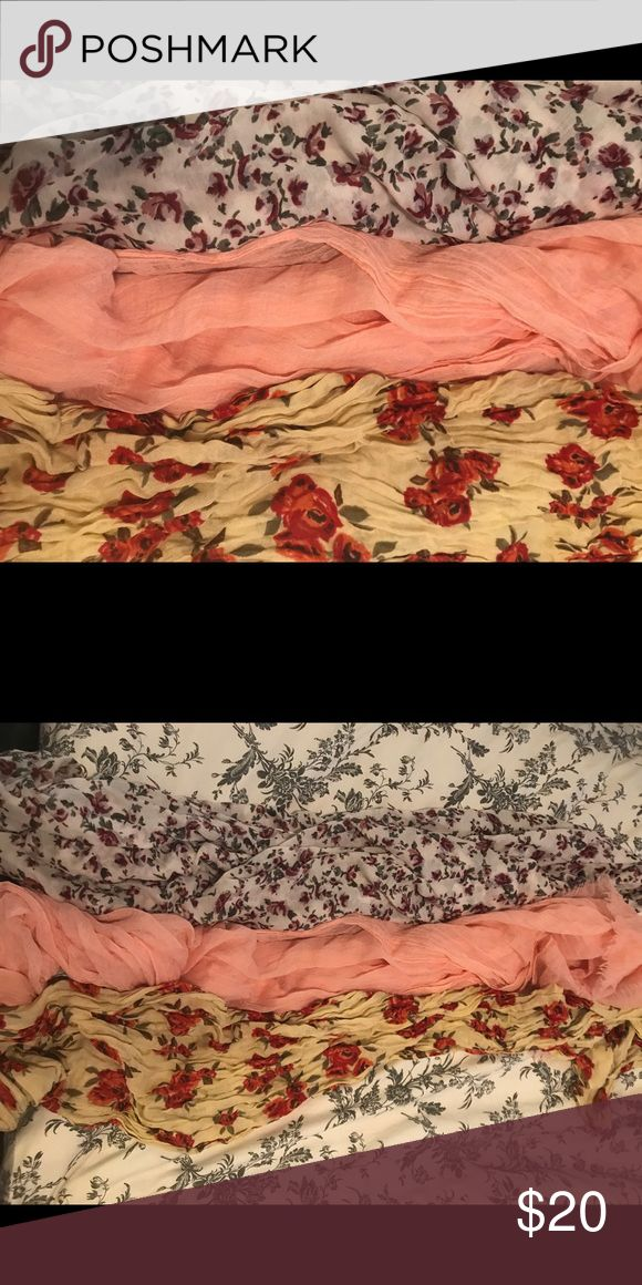 3 Spring Scarves Bundle 3 gorgeous, super comfy scarves in great condition! Accessories Scarves & Wraps