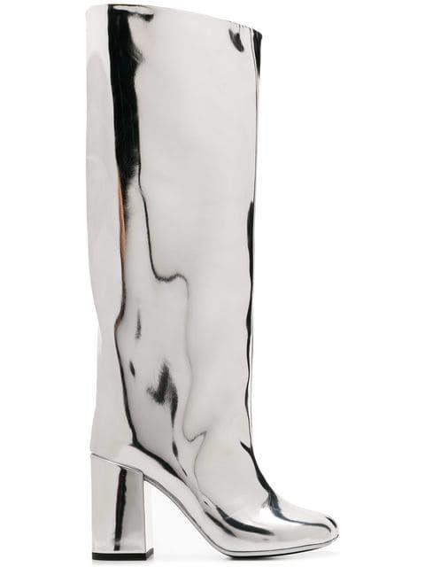 1483acdd415e Shop Mm6 Maison Margiela metallic knee length boots | Glamorous ...