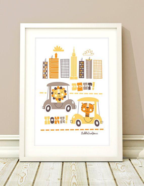 Art de la pépinière animaux, transport art, chambre de bébé filles, bébés garçons, impression de transport, enfants salle art, décor de pépinière, imprimer pépinière de bébé fille