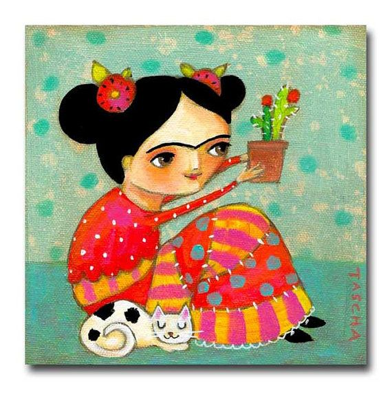 ORIGINAL acrylic painting FRIDA Kahlo with CACTUS and Kitty Cat folk art painting by tascha