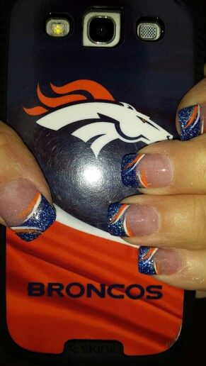 Denver Broncos inspired nail art II - Thank you Jonathans nail & spa Salon
