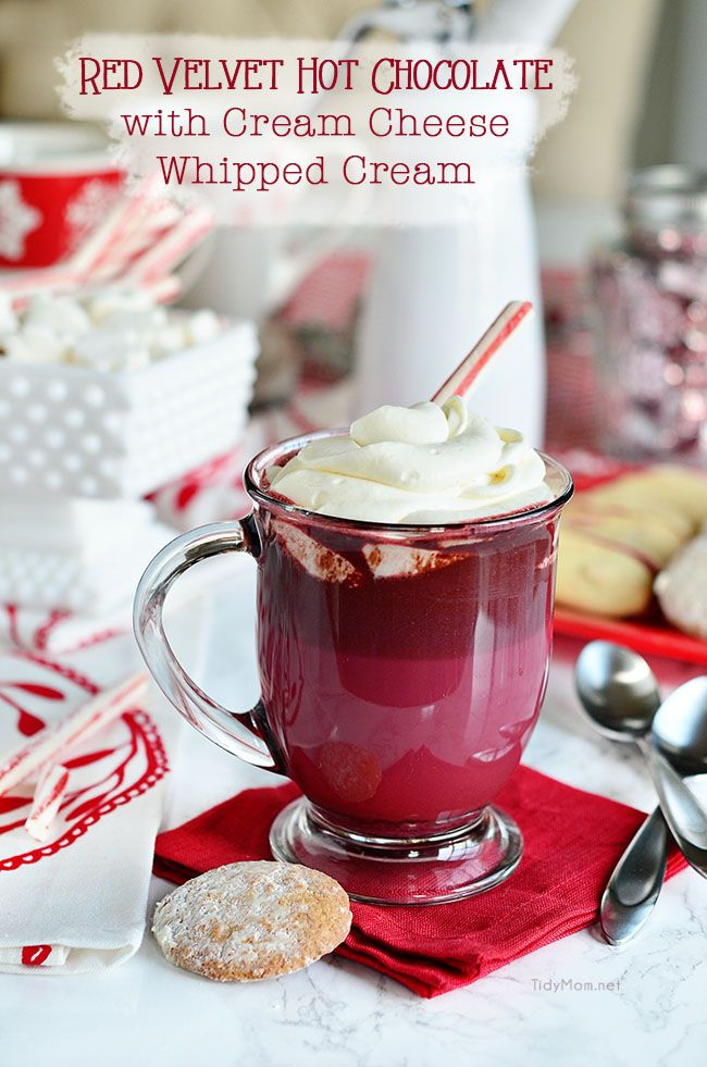 Red Velvet Hot Chocolate with Cream Cheese Whipped Cream is so easy to ...