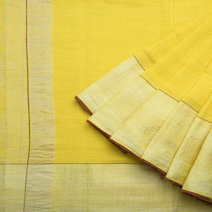Handspun and Handwoven Khadi Cotton Sari available in Yellow, Gold Colour Zari