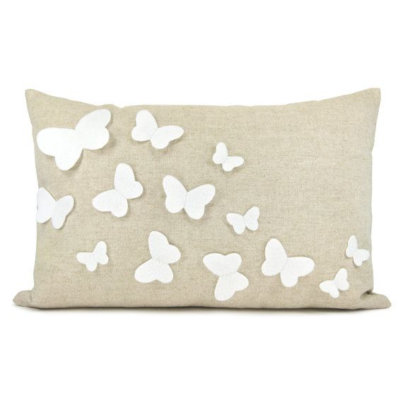 Growing butterflies pillow case - White felt butterfly appliques on natural beige canvas accent pillow cover - 12x18 pillow cover via Etsy