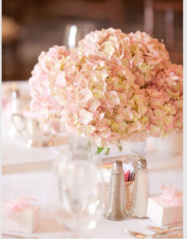 wedding centerpieces fake flowers%0A these blush hydrangeas can go in the center of the table  I was thinking of  hydrognea in the center in a half gallon mason jar with baby u    s breath