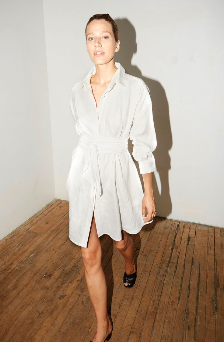 White Linen Short Shirt Dress with Band