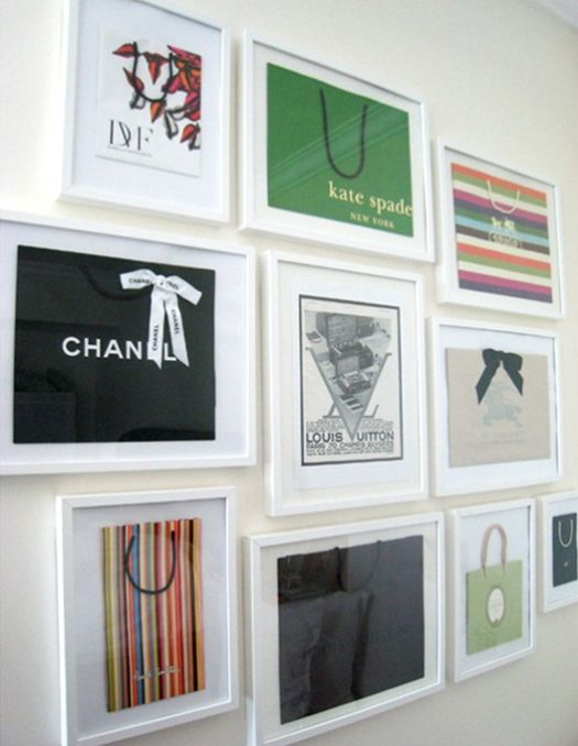 "Fun idea to frame your ""designer"" shopping bags - yeah, if your closet is big enough that you have a BLANK wall - this would really be cute! but my bags would be plastic! :)"