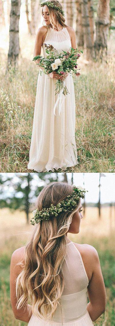 Simple A Line Round Neck Chiffon Long Bridal Dresses,Beach Wedding Dresses uk PH…