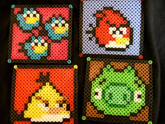 Angry Birds Inspired Perler Coaster Set by SugarSkullzArtCo