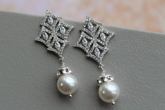 ON SALE Art Deco Pearl  Earrings ,Bridal Wedding Earrings, Bridal Stud Earrings, Pearl Drop Earrings ,Crystal  Earrings ,Wedding Jewellery