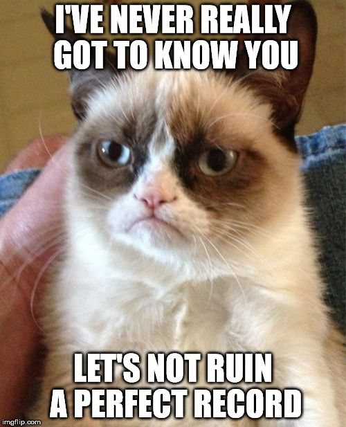 Grumpy Cat Meme | I'VE NEVER REALLY GOT TO KNOW YOU LET'S NOT RUIN A PERFECT RECORD | image tagged in memes,grumpy cat | made w/ Imgflip meme maker