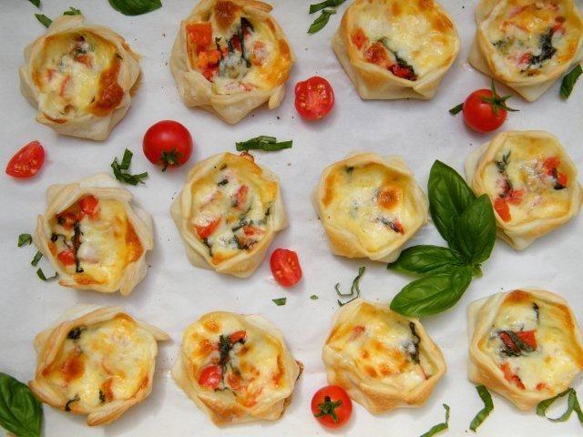 Great Appetizers! Canastitas Caprese (Open-faced Empanadas with Tomato, Basil and Mozzarella)
