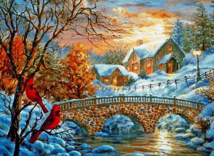зимний пейзаж - Схемы вышивки - lucha28 - Авторы - Портал «Вышивка крестом»