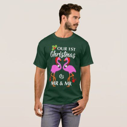 Gay Couples First Christmas As Mr & Mr Graphic T-Shirt - married gifts wedding anniversary marriage party diy cyo