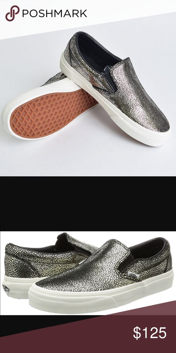 *LIMITED EDITION* Vans Classic slip ons Limited edition!! Black & gold metallic dot Classic Vans Slip ons. Not available anywhere!!!! U.S. or Europe. Ordered these from Europe and instead of a Women's size 7.5, they sent me a Men's size 7.5/ Women's size 9, and I couldn't exchange because they were completely sold out. Waited for these shoes for 2 months! So disappointed to be selling these! Absolutely gorgeous shoe that goes with EVERYTHING!!! Original box. Never worn. Vans Shoes Sneakers