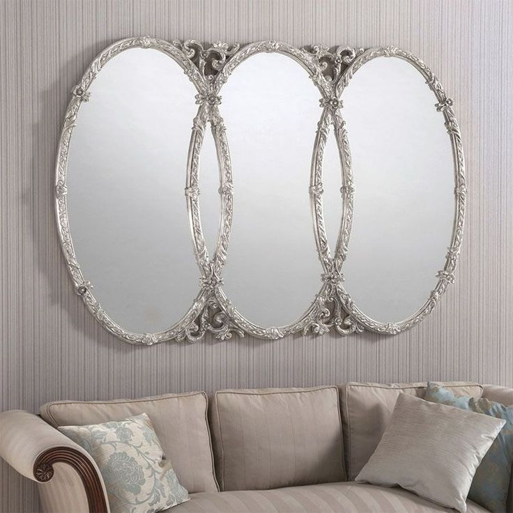 Triple Oval Ornate Silver Wall Mirror 160 x 110cm