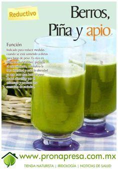 Jugo Natural de Berros, Piña y Apio: Reductivo. #ConsejosDeSalud #TipsSaludables #Reductivo #Dieta
