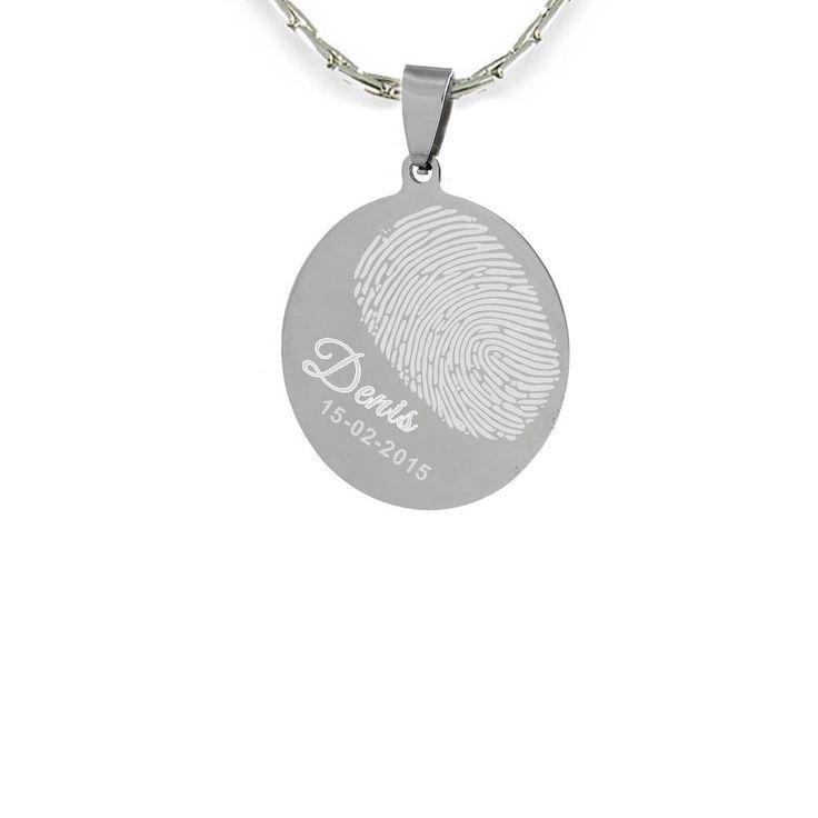 Graveer Sieraad Vingerafdruk graveren op ovale hanger zilver inclusief ketting