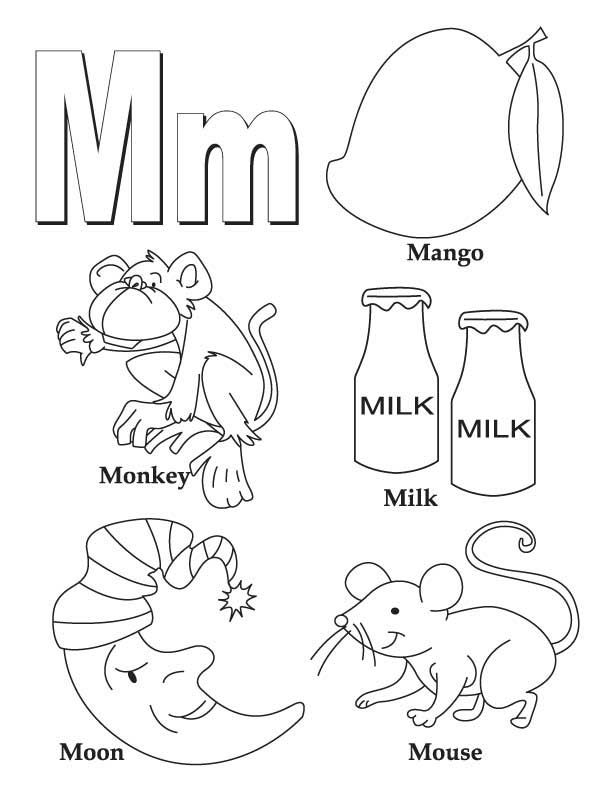 my a to z coloring book letter m coloring page - Coloring Books For Toddlers
