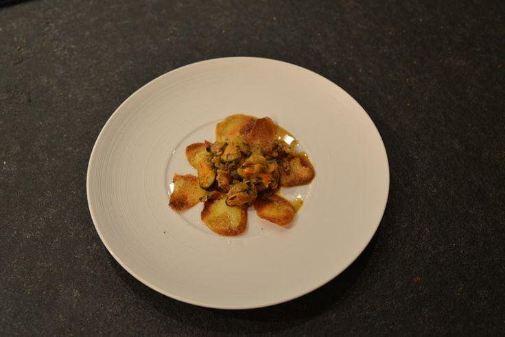 Muscheln Langeoog auf gebratenen Kartoffelscheiben