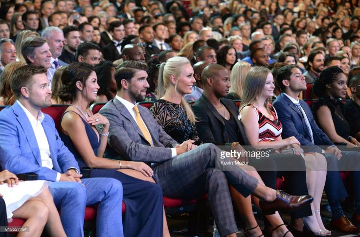 Ricky Stenhouse Jr., Nicole Johnson, Michael Phelps, Lindsey Vonn, and Kenan Smith in the audience at The 2017 ESPYS at Microsoft Theater on July 12, 2017 in Los Angeles, California.