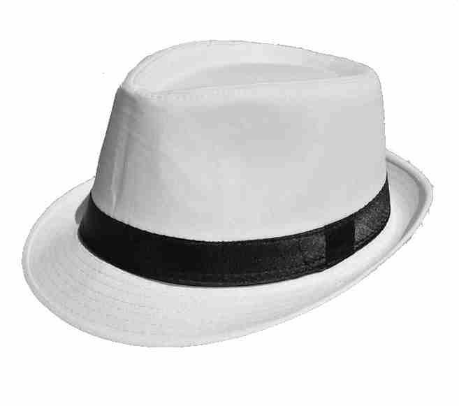 White Fedora Hat Men Women Straw Brim Cap MJ Summer Fedora