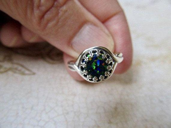 Teal Blue Sterling Silver Black Opal Ring Australian Fire Opal Blue Gemstone Size 8 Dreamy With Images Black Opal Ring Blue Opal Ring Opal Rings