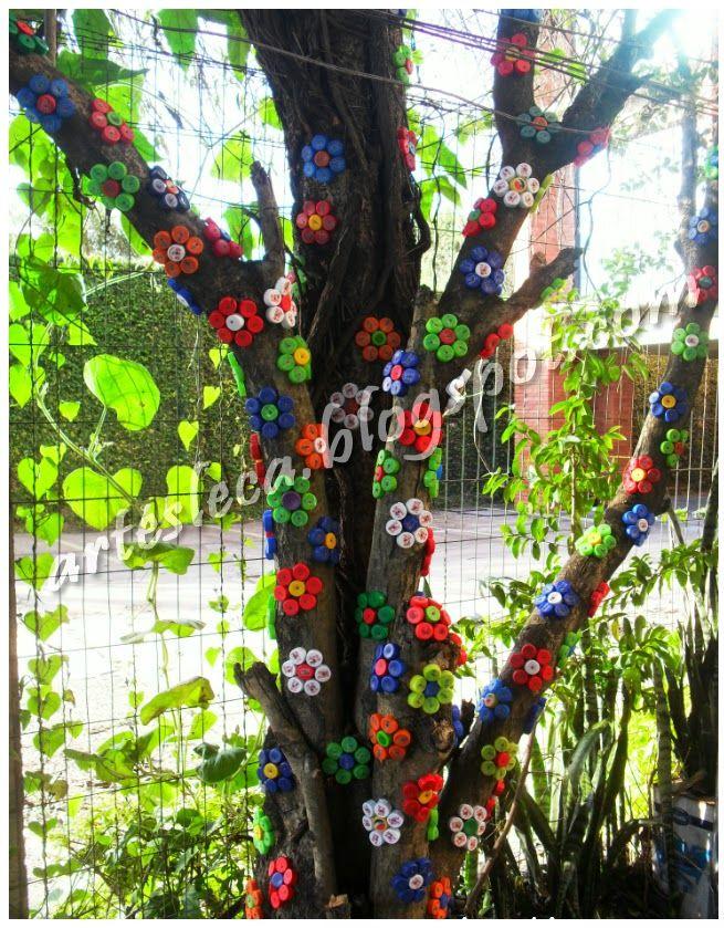 Artesanato Ideias Incriveis ~ Flores feitas com tampinhas de garrafas PET #artesanato #tampinhas #reciclagem Tampinhas