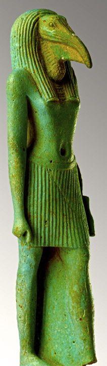El dios Thoth, con cabeza de ibis (íbice) y cuerpo humano, Din. 18ª.