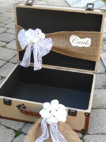 Wedding Card Holder Shabby Chic Burlap Suitcase Wedding Cardholder Card Box | good for a travel themed wedding